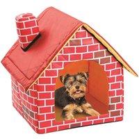 Lit de chien de compagnie pliable Dog Maison petite maison Petite maison Pet Chat Kennel Indoor Portable Portable Trave Trave Coussin Mat Sofa Pupe lavable Peluche 1232 V2