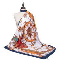 130スクエアスカーフ、セーリングボートパターンショール、女性ツイルシルク装飾用スカーフ