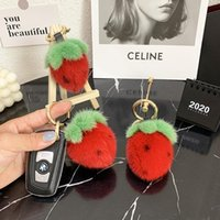Keychains Real Keychain Sweet Cute Mini Little Strawberry For Women Hand Bag Pendant Car Keyring Accessories Jewelry Metal Ring