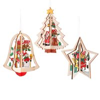 9 Designs Christmas Tree Pendant Christmas Pattern Wooden Hollow Snowflake Snowman Bell Hanging Decorations Colorful Home Festival RRD6808