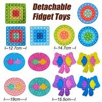Fidget desmontable Push Push Bubble Toys Anti-Tray DecomPresion Burbujas Tablero Bow Kiss Fish Dedo Juguete Dalle redondo cuadrado Formas 072307