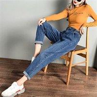 Women's Jeans Woman Harem Pants Loose Casual Cotton Mid Waist Wide Leg Ankle Length Spring Autumn Denim Plus Size