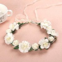 Hair Accessories Multicolor Artificial Rose Flower Headband Hairband With Ribbon Gradient Colored Headdress Wedding Bridal Wreath Crown Head