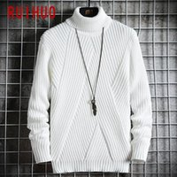 Men's Sweaters RUIHUO Criss-Cross Knitted Sweater Men Clothing Mens Turtleneck Pull Clothes Pullover 2021 Autumn Winter M-3XL