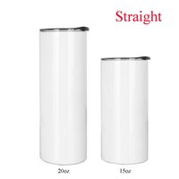 Blank Mug 20oz 15oz Sublimation Straight Skinny Tumbler Cup With Straw Lid 3 PCS LOT Stainless Steel the Same Width from Up and Down