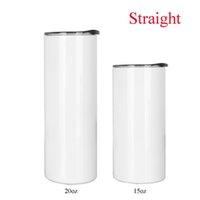 Tasse vierge Tasse de sublimation de 15oz 15oz 15oz Tumbler maigre droite avec couvercle de paille 3 pcs / lot acier inoxydable de la même largeur de haut en bas de haut en bas