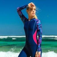 スイムウェアシャムウェットスーツワンピース長袖全身ダイビング服水着サーフィンスーツ女性スポーツビーチシー
