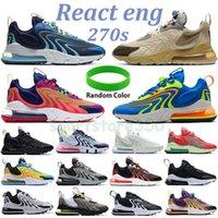 Newes 270s react eng running shoes blackened blue laser crimson orange