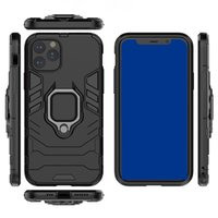 2 in 1 Cas de téléphone portable d'armure antichoc 360 degrés Couverture arrière de protection corporelle avec porte-bague de doigt magnétique Ucclesse pour iPhone Samsung Galaxy Moto Huawei