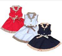 2021 Vestidos de verano Vestidos Diseñadores Ropa Niños Sin mangas Baby Girl Dress Plaid Sticiendo Ropa para niños