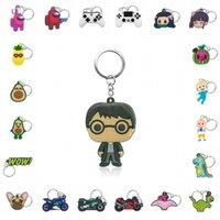 100pcs lot Keychain Pvc Key Ring Mini Anime Figure Key Holder Key Chain Cool Trinket Kids Gift Party Favors Keys Decoration H0915