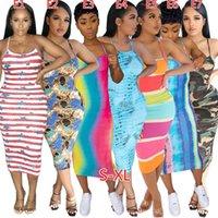 Chaleco sin mangas sexy Mujeres Midi Vestidos Casual Sling Vestido de novia Moda Color Sólido V Cuello Slim Bodycon Falda Diseñadores de Verano Ropa