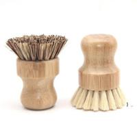 El Ahşap Fırça Yuvarlak Kolu Pot Fırça Sisal Palm Çanak Kase Tava Temizleme Fırçaları Mutfak Evi Ovma Temizleme Aracı BWA4994