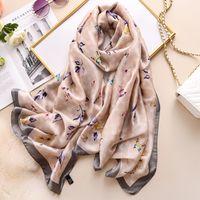 90 * 180cm 여성 남성 스카프 패션 봄 가을 나비 꿀벌 인쇄 긴 해변 shawls 부드러운 따뜻한 실크 스카프