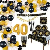 Partigos 40 ans Ballon Ballon Happy Party Decoration 40 Ballon Helium 40th 210610