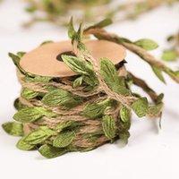 잎 갈 랜드 자연 황마 꼬기 삼 베잎 리본 대마 밧줄 벽 매달려 인공 포도 나무 식물 소박한 결혼식 장식 화환 NHF6334