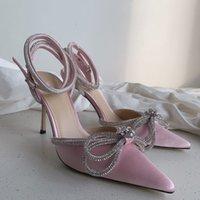 Sandali da donna in pelle Sole Designer Tacchi alti 10 cm Nero Diamante Diamante Diamante Decorazione Banchetto Scarpe da donna Scarpe da seta Sexy Sexy Shoe Pantofole da scarpa Formale Consegna gratuita