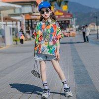 Grandes Garotas Geométricas Graffiti Impresso Camisa Verão Crianças Lapela De Manga Curta Casual Camisetas Designer Velho Crianças Miúdos Algodão Roupas 3-15T A6432