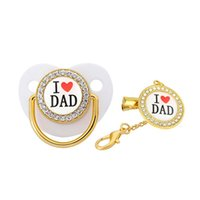 Pacifiers# Luxury Crystals Diamond Gold Baby Pacifier Dummy Orthodontic Bling Chain I Love Dad Kid Nipple Soother Holder Clip