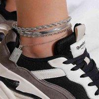 Mode 4 teile / satz anklet armband für frauen fußzubehör sommer strand barfuß sandalen armband knöchel auf dem bein weiblichen knöchel