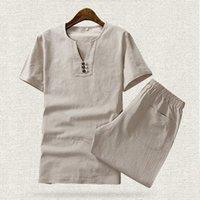 Yeni Varış Yaz Pamuk Keten Ince Kısa Kollu T-shirt Moda Iki Parçalı Setleri Erkekler Için Setleri Şort