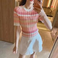 2020 spring and summer new temperament round collar stripe color knit short-sleeved T-shirt tight women's short-sleeved blouse