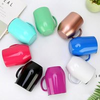 12oz Stainless Steel Coffee Cup With Lid Handle Egg Cups Tea Mug Water Bottle Wine Glasses Double Layer Beer Mugs Solid Tumbler OWA5515