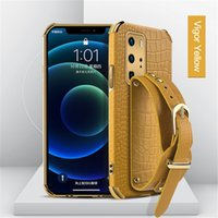 Wrist Strap Crocodile Leather phone Cases For coque Samsung Note 20 S21 Ultra S20 FE Plus A51 A71 A41 A32 A52 A72 A11 A02S A12 Scase Cover