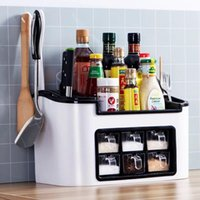 Storage Bottles & Jars Multifunctional Kitchen Seasoning Box Spice Jar Container Rack Organizer Supplies Knife Shelf