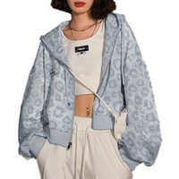Women's Hoodies & Sweatshirts High Street Women Lips Print Zip Up Hooded Sweatshirt Drop Shoulder Full Sleeves Casual Cool Short All-Match M