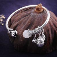 100% S999 Sterling Silver Bangle Cat Hetian Jade Lotus Fashion Classic Pure Argentum Gemstone Women's Bracelets