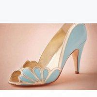 "Zapatos de boda azules Slips ons Bridal Peep Toe Sandalia Bombas de Sandalia PU Cuero 3 ""Tacones altos Stilettos Flores Accesorios nupciales Kitten Heel 2016"