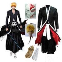 Anime Bleach Cosplay Ichigo Kurosaki Bankai Hollow Mask Wig Men Halloween Cosplay Costume G0913