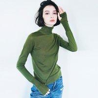 Suéteres para mujer Guardia de lana merino ultrafina con tejido de tortuga transparente y una blusa delgada Base de jersey 293061