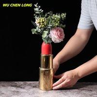 Wu chen simulazione lunga rossetto arti vaso ornamenti decorativi ornamenti in ceramica arrangiamento fiore artigianale decorazione della casa R5475 210409