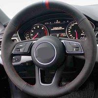 Couvercle de volant de voiture en daim doux de bricolage à la main pour Audi A4 (B9) Avant A5 (F5) Q2 A1 (8X) Sportback A3 (8V)