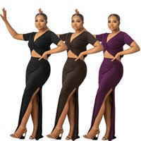 Mor / Kahverengi / Siyah Zarif Bodycon Elbise Kadınlar Için V Yaka Kısa Kollu Uzun Parti Elbise Chic Side Yüksek Bölünmüş Ince Vestidos