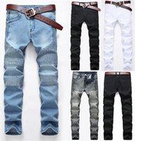 Uomini jeans strappato biker foro denim patch harem dritto punk rock slim fit classico hip hop blu per pantaloni da uomo