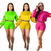Newest 2021 Women Gauze Shorts Tracksuits Summer Sexy Lady Full Sleeves Crew Neck Tops Two Pieces Nightclub Party Short Sets