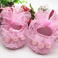 First Walkers Princess Party Lace Floral Soft Sole Crib Shoes Born Baby Girl Anti-slip Sneaker Prewalker Toddler Kid 0-12M