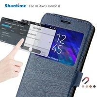 PU-Leder Telefon Fall für Huawei Honor 8 V8 Flip 9 Ansicht Fenster Buch Weiche Silikon Rückseite Zellkoffer