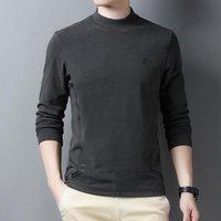 Erkek T-Shirt Çift Taraflı Kadife Uzun Kollu T Gömlek Erkekler Yarım Yüksek Yaka En Moda Baskılı Tişört Balıkçı Yaka Kış Streetwear Marka