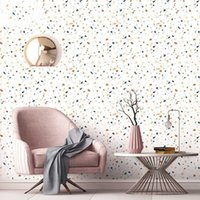 Terrazzo 바닥 방수 셀프 접착 월페이퍼 거실 어린이 침실 장식 벽 스티커 주방 캐비닛 접촉지