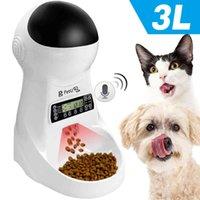 Автоматический кормушка для домашних животных с голосовой записью 3L домашние животные еда миска для маленькой средней собаки кошка ЖК-дисплей 4 раза один день