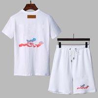 2021 패션 남성용 트랙스 반팔 티셔츠 반바지 2 피스 여름 순수한면 통기성 스포츠 큰 편지 인쇄 캐주얼웨어 스포츠웨어