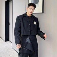 Men's Suits & Blazers Male Harajuku Trendy Suit Coat Net Celebrity Style Stage Clothing Men Korean Chic Fashion Short Jacket Blazer