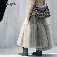 Skirts Black Tutu Tulle Skirt Korean Fashion Summer Vintage Midi Pleated Women Lolita Bridesmaid Wedding Faldas Mujer Saias Jupe