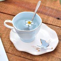 Home Decor Ceramic Coffee Cup Saucer Set Wedding Gift Handmade Bone China Milk Mug Tea Fashion Cups & Saucers