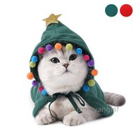 Pet Christmas Costume Puppy Xmas Cloak with Star and Pompoms Cat Santa Cape with Santa Hat Party Cosplay Dress CC0552