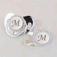 Miyocar Silver Name Bling Первоначальная буква M Красивая Bling Pacifier Ancifier Ancifier Clip BPA Бесплатный Пупок Bling Bling Babyshower Подарок LM-1 210407